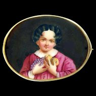 Brooch--Very Large Mid-19th C. Little Girl in Pink Dress Hoarding Fruit in 14 Karat Gold