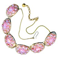 Necklace ~ Fine Vintage Andree Bazot French Limoges Pink Opal Encrusted Enamel