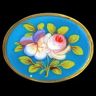 Brooch--Large Blue Opaline Glass with Enameled Pansy and Rose