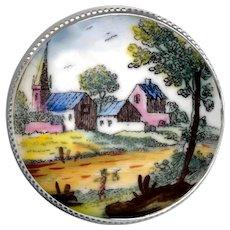 Button--Large Georgian Enamel on Copper Rustic Village Scene in Modern Silver Setting