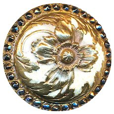 Button--Elegant Art Nouveau Enamel in Relief and Dimensional Poppy Domed