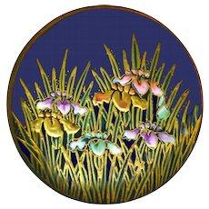 Button--Large Late 19th C. Thick Pastel Enamel Satsuma Irises on Cobalt Ground
