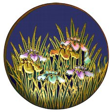 Button--Large Late 19th C. Thick Pastel Enamel Satsuma Irises on Cobalt Ground