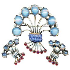 Brooch & Earrings--1940s Reja Sterling Silver in Retro Modern Glass Jewels