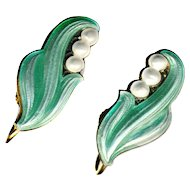 Earrings ~ Vintage 20th C. Lily of the Valley Enamel on Sterling Silver Screw-backs