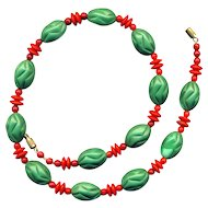 Necklace~Early 20th C. Chechoslovakian Red & Green Beads