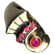 Ring ~ Art Deco or Retro Moderne 10 Karat Gold with Bright Sparkly Rubies