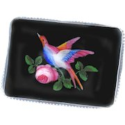 Button--Large Late 19th C. Enameled Black Glass Rectangular Bird of Paradise in Sterling Silver Mounting