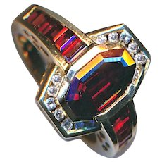 Ring--Unusual Channel-set Vintage Garnets and Diamonds in 14 Karat Gold Size 8.5