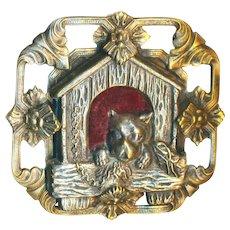 Button--Huge Vintage 20th C. Openwork Stamped Brass and Velvet Embellishment Dog in Kennel