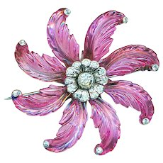 Brooch--Fine Cranberry Pink Poured Glass Foliate in Rhodium Plated Metal with Rhinestones