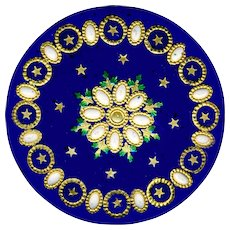Button--Large 18th C. Georgian Enamel on Copper with Pearl Pierreries & Foil Paillon Stars & Leaves