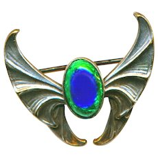 Brooch--Small Early 20th C. Silver-plated Brass Jugendstil Wings & Peacock Eye Glass Jewel