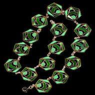 Necklace--Art Deco Era Enamel on Open-work Brass in Shades of Green