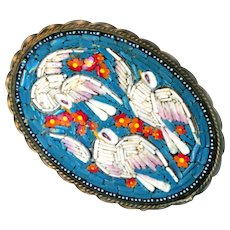 Brooch--Early 20th C. Micromosaic 3 Doves & Red Posies