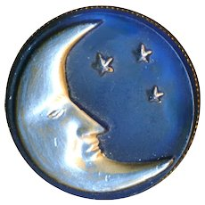 Brooch--Early 20th C. Silver Man in the Moon Glass in Brass