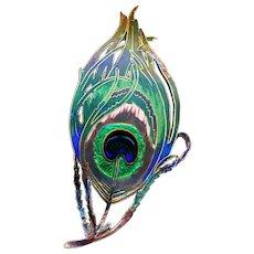 Brooch--Stunning Piel Freres Art Nouveau Enamel on Brass Peacock Feather