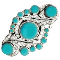 Brooch--Big Elegant Fancy Fooler of Turquoise Glass in Silvered Base Metal