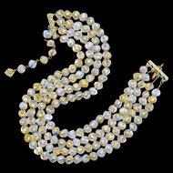 Beaded Necklace--Vintage 1950s Opalescent & Pure Gold Foil Venetian Glass