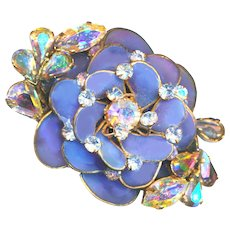 Brooch & Earrings--Large Vintage Unmarked Poured Glass with Aurora Rhinestones