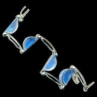Bracelet--Art Deco Era Light Blue Glass Demilunes with Knurled Surface in Chrome Finish Metal