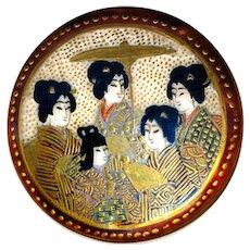 Button--Exceptional Fine 19th C. Satsuma Pottery 5 Women & Golden Parasol