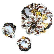Brooch Earrings--Vintage Miriam Haskell Faux Agates and Seed Beads