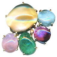 Brooch--Heavy Modern Polished Gemstones in 14 Karat Gold