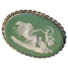 Brooch--Large French Green Jasperware Medallion of Aurora (Dawn) in Sterling Silver