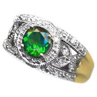 "Ring--Large ""Siberian Emerald"" Chrome Diopside & Diamonds in 14 Karat Yellow and White Gold Lattice"