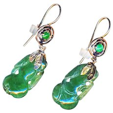 Earrings--Late 19th C. Hand Carved Jade Fruits in 14 Karat Gold
