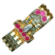 Ring--Unusual Art Deco 14 Karat Gold Belt with Diamond and Rubies--Adjustable Size