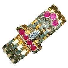 Ring--Unusual Art Deco 14 Karat Gold Belt with Diamond and Rubies--Adjustable Size