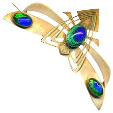Brooch--Austrian Secession Period Brass and Peacock Eye Glass Moth or Butterfly