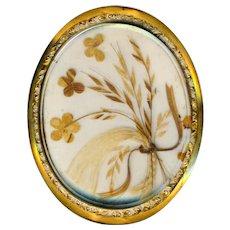 Brooch--Sentimental Large 19th C. Hair Art Under Glass in 14 Karat