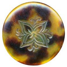 Button--Scarce Large Mid-19th C. Impressed & Gilded Quatrefoil Design