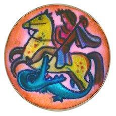 Button--Rare Karl Drerup Modern 20th C. American Enamelist St. George Slaying the Dragon