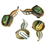 Earrings--Vintage 1950s Meets Victoriana--Dessicated Egyptian Scarab Beetles in Openwork Copper Clip-backs