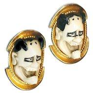 Earrings--Fun Stuff--Clunky Vintage Japanese Hannya AKA Noh Demons in Goldtone Metal
