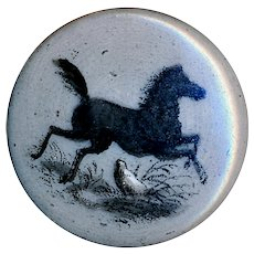 Button--Mid-19th C. Transfer Decorated Monochrome Porcelain Prancing Horse--Medium