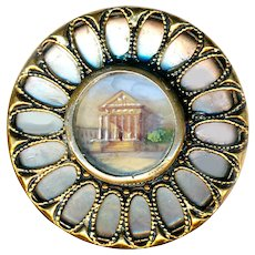 Button--Late 19th C. Large Hand Painted Building Under Glass on Pearl in Brass