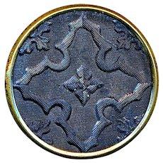Button--Uncommon Mid-19th C. Pressed Rimmed Horn Quatrefoil--Medium