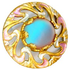 Button--Early 20th C. Matte Saphiret Glass in Silver Pink Painted Brass