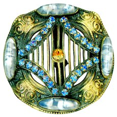 Button--Large Wavy Gay Nineties Open Work Brass, Jewels, and Slag Glass