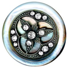 Button--Large Late 19th C. Trefoil Jeweled Silver Pearl