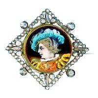 Brooch--Mid-19th C. Limoges Enamel Renaissance Man in Bright Cut Steels on Brass