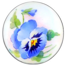 Brooch--Early 20th C. Scandinavian Basse Taille Enamel and Hand Painted Pansy