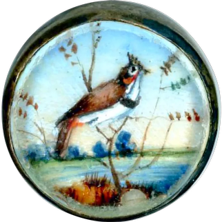 Button--Late 18th C. Hand Painted Grouse In Habitat Under Glass in Silver Waistcoat