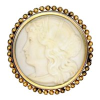 Brooch--Late 19th C. Hand Carved Ivoroid Cameo in Brass