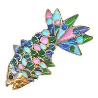 Brooch--Large Vintage French Gripoix Fish--Lampwork Glass Jewels in Filigree Wire